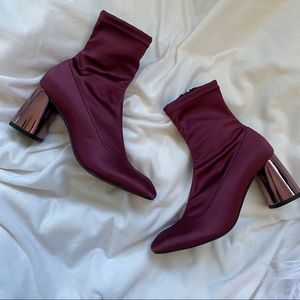 Free People New Satin Spectum Sock Ankle Bootie